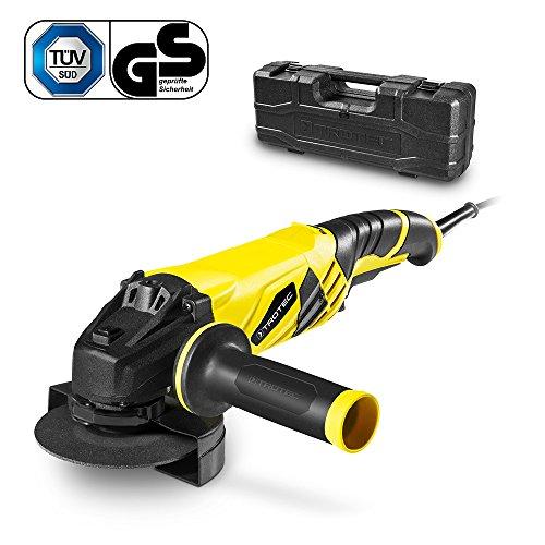 TROTEC Winkelschleifer PAGS 10-125 inkl. Koffer mit 125 mm Trennscheibe, Zusatzhandgriff (3 Positionen variabel montierbar), 1.200 Watt, konstante Drehzahl bis max. 12.000/min