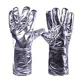 Moolo Feuerfeste Handschuhe Aluminiumfolie-Hohe Temperaturbeständigkeits-Handschuhe Hitze-Beweis-Verteidigungs-Strahlung 500 Grad-industrieller Schutz-Arbeitsschutz-Leder-Handschuhe Fünf Finger