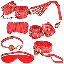 Demarkt 7pcs de cuero felpa Bondage Equipo Kits para el amor (rojo)