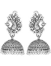 Young & Forever Mothers Day Gifts Tribal Muse Afghani Style Peacock Motif Jhumkhi Earrings For Girls/women E508