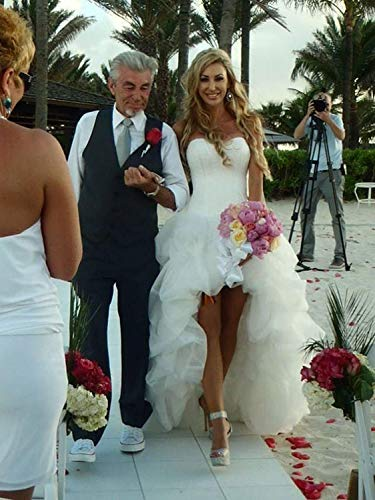 YASIOU Hochzeitskleid Elegant Damen Lang Weiß A Linie Hinten Lang Vorne Kurz Hochzeitskleider Brautkleid Große Größen mit Schleppe - 4