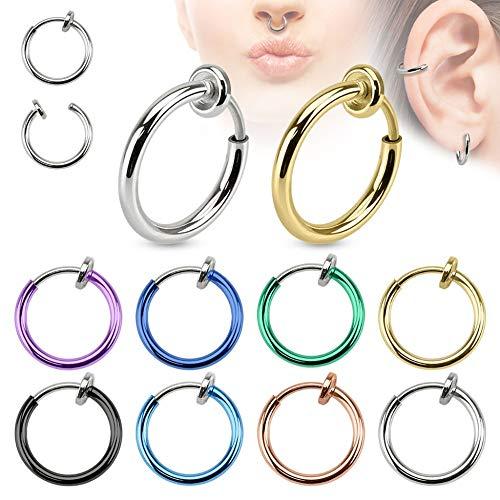 Treuheld® | Fake Piercing Ring aus Chirurgenstahl | Schwarz | 1,4mm x 10mm | Imitat Piercingschmuck zum Klemmen | für Ohr Nase Lippe Nabel