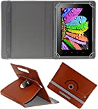 DMP 360 Degree Rotating Leather Flip Case Book Cover With Stand For Samsung Galaxy Tab E – Brown