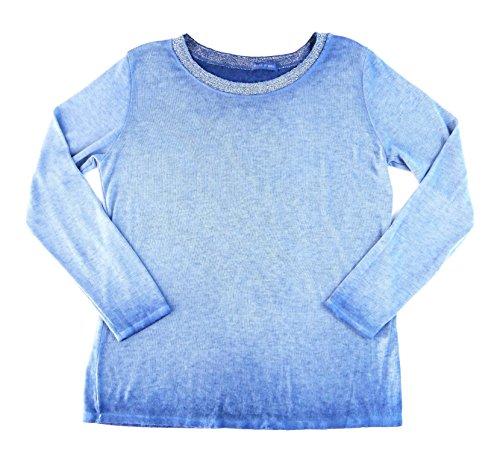Damen Procedure Basic Outfit Langarmshirt Long-Shirt Longsleeve Pulli Pullover Glitzer M L 38 40 42 (8390) (hellblau)
