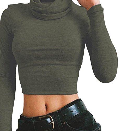 Minetom Damen Langarmshirt Rollkragen Bauchfreie Kurz Tops V Ausschnitt Langarm Crop T-Shirt Schick Slim Hemd Bluse Oberteil Sweatshirt Armee Grün DE 36 (Pullover Metallischen Ärmel Kurze)
