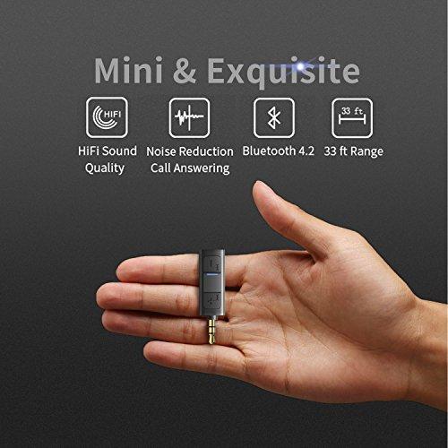 Bluetooth Aux Adapter, TekHome 4.2 Bloothooth Adapter Klein, Aux Adapter Auto, Kfz Bluetooth Adapter Audio 3.5mm Musik Empfänger für Kopfhörer und Stereoanlage. - 3
