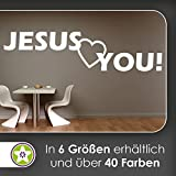 KIWISTAR Jesus Loves You! Jesus liebt dich! Text Wandtattoo in 6 Größen - Wandaufkleber Wall Sticker