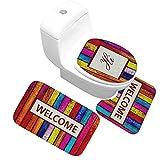 Epinki Flanell Teppich & Toilettenmatte Set Bunt Welcome 3PCS Muster Teppiche für Flur Schlafzimmer Bunt 60x40CM