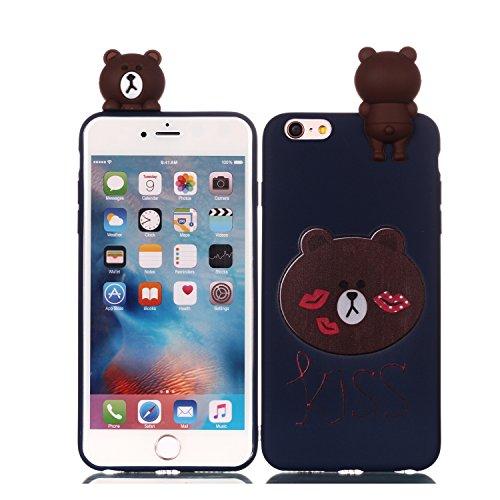 Schale Bär (Yobby Hülle für iPhone 6 Plus,iPhone 6S Plus Handyhülle Weiches Silikon 3D Süß Cartoon Tiere Dunkelblau Bär Schale,Mode Cool Bunt Muster Gummi Gel Weihnachten Abdeckung für Kinder Jungs Mädchen)