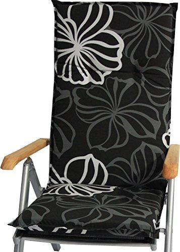 beo Gartenstuhlauflagen Saumauflage für Hochlehner, circa 118 x 48 x 6 cm, schwarz mit weißen...