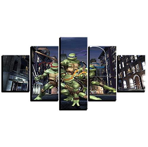 LYJZH Dekorative Malerei (5) Teenage Mutant Ninja Turtles Zeichentrickfigur Inkjet-Hintergrund Poster - (Rahmenlos) EIN 40x60cmx2 40x80cmx2 40x100cmx1 - Turtle Hintergrund Ninja