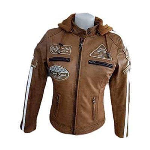 Urban Leather 58 Giacca Moto da Donna con Imbottitura Protettiva, Tan, Taglia XL