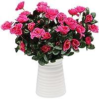 flores artificiales decoración jarrones altos 1 ramo 7 cabezas de Azalea flores jardín plantas de flores by Sanysis (Rosa caliente)