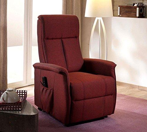 Design Twist Morgana Sessel Aufstehhilfe, Leinen, Rot, 82x 74x 117cm