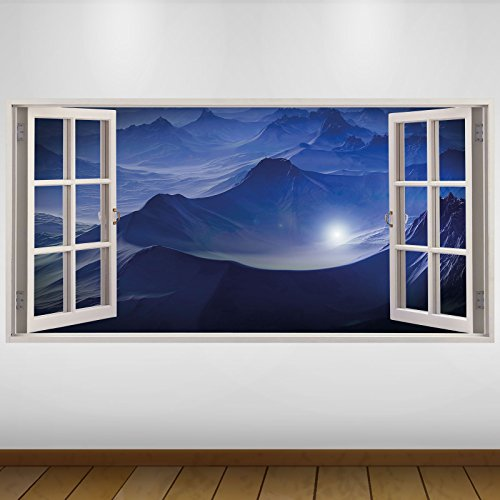 Preisvergleich Produktbild EXTRA GROßE Blue Mountains Alien Star Fantasy 3D Vinyl Sticker Poster Wandsticker Wandtattoo Wandbild Wanddeko -140cm x 70cm (s3138)