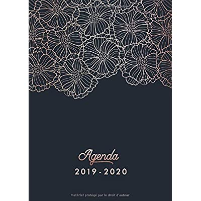 Agenda 2019 2020: Agenda 2019 2020 Semainier | Octobre 2019 à Décembre 2020 - Agenda de Poche, Agenda Semainier et Calendrier | Agenda organiseur pour ton quotidien | floral noir