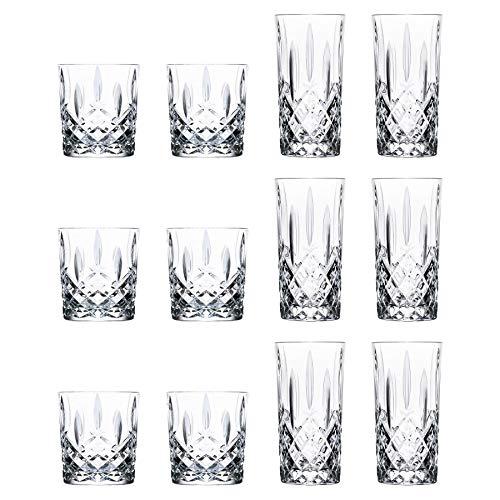 RCR Kristall Orchestra Cut Glas Whiskey Tumblers und Highball-Cocktail-Gläser - 340ml, 396ml - 12er Set -