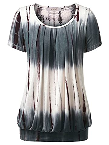 WAJAT Women's Round Neck Short Sleeve Tunic Blouse Pleated Front Tie Dye Casual T-Shirt Tops Coffee XL