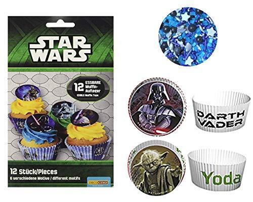 Star-Wars Backset für 12 Muffins oder Cupcakes - 12 Stück Muffinformen, Muffinförmchen + 12 Stück eßbare Muffinaufleger aus Zucker + 20 g Streudekor Galaxy aus Zucker (Star Wars Cupcakes)