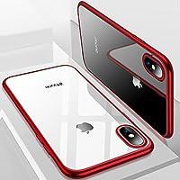 iPhone X Hülle, TORRAS Silikon Durchsichtig Ultra Dünne Schutzhülle Transparent Handyhülle [ Kratzfest ] Klar Soft Slim Gel Case TPU Plating Bumper Handy Hulle für Apple iPhone X / iPhone 10 - Rot