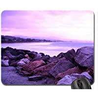 half moon bay in cali in purple Mouse Pad, Mousepad