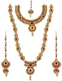 Maalyaa (Brand Of Kalyani Covering) Gold Color Brass Kundan Full Bridal Set For Women And Girls / Bridal Women.