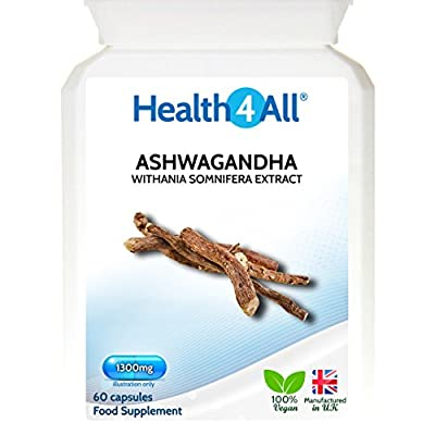 Health4All Ashwagandha STRONG Extract 1300mg | 100% VEGAN | Indian Ginseng | Withania Somnifera | Free UK Delivery