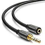deleyCON PREMIUM 2m HQ Stereo Audio Klinken Verlängerungskabel - 3,5mm Klinken Buchse zu 3,5mm Klinken Stecker - METALL - vergoldet