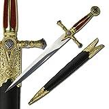 Medieval Schwert - Kurzschwert - Masonic - Roter Samt Griff -Scheide -ungeschliffen- Gesamt 54,5 cm