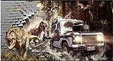 MINCOCO Peinture murale personnalisée 3d photo papier peint voiture Jurassic Park chasser les dinosaures fond décor à la maison salon papier peint, 350x245 cm (137.8 by 96.5 in)