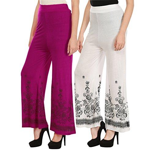 Haniya Free Size Combo of Printed Viscose Palazzos for Women (White & Magenta)