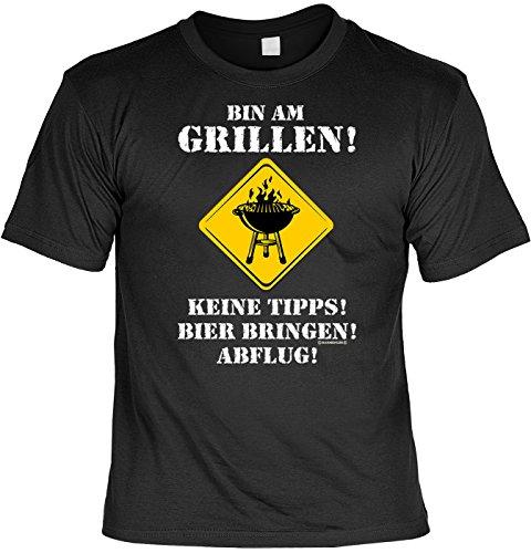 T-Shirt mit Urkunde - Bin am Grillen - Keine Tipps - Bier Bringen - Abflug - lustiges Sprüche Shirt als Geschenk für Grill Meister mit Humor - NEU mit gratis Zertifikat!