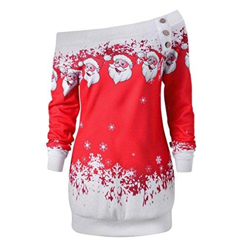 Longra Damen Bluse Festliche Blusen Weihnachten Santa Snowflake Pullover Tops Langarm Sweatshirts Damen Mode Schulterfrei Blusenshirt Langarmshirt Festliche Schöne Oberteil Tops (Red, M)