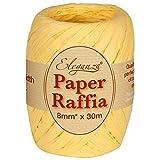 Eleganza 8 mm x 30 m de Ruban en Raphia Papier pour de Nombreux projets manuels, et Emballage Cadeau n ° 2 Jaune pâle