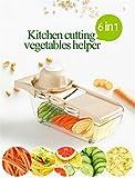Pei Gemüseschneider Manuell Weizenstroh 6 In 1 Zerkleinerer Kitchen Gemüsehobel Küchenhobel Kartoffelschneider Für Gemüseschäler Gemüse Und Obst,Natural