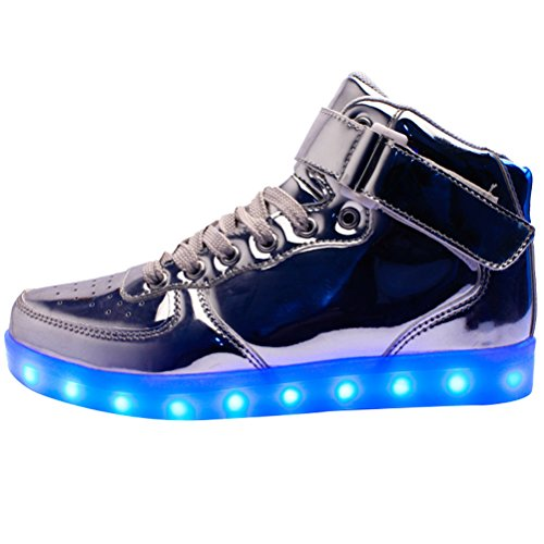 MatchLife Unisex USB Rechargeable LED Chaussure Lumineuse Clignotant Sport Basket Montante Et Basse Sneaker Style2-Argent