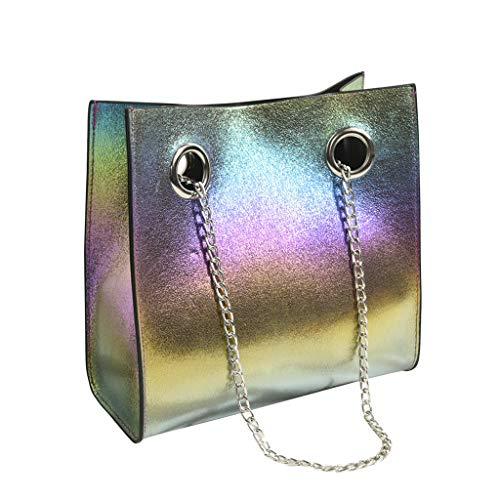 KIMODO Damen Große Kapazität Handtasche Schultertasche PU Wild Messenger Tote Bag Mode Elegante Henkeltasche Umhängetasche (Mehrfarbig) -
