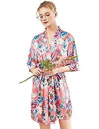 SXSHUN Kimono Corto de Mujeres Pijama de Satén Bata con 3/4 Manga con Estampado
