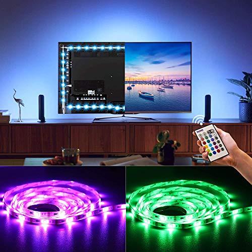 BASON Led Strip,LED Streifen, USB LED TV Hintergrundbeleuchtung Fernseher, Led Leiste mit Fernbedienung, 5050 SMD RGB Led Beleuchtung für 60-70 Zoll TV/Wandhalterung Cinema Dekoration Led Stripes. (70-zoll-tv Steht)