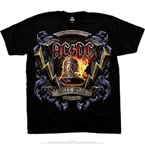 Liquid Blue AC/DC HELLS BELLS SHIELD Men's T-Shirt sizes M - 6XL (Teufel Mens Tee)