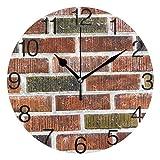 Vipsa Runde Wanduhr, arabische Ziffern, Acryl, rund, geräuschlos, Nicht tickend, 24,1 cm, Bunte Wandfliesen