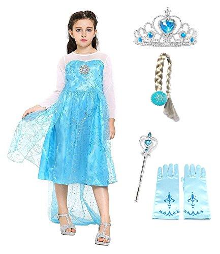 Taglia 150 - 7 - 8 anni - Costume Elsa Con Accessori - Corona - Bacchetta - Guanti - Treccia - Bambina - Frozen - Colore blu - Travestimento - Carnevale - Halloween - Cosplay - Principessa