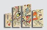 Kandinsky Quadro Moderno Untitled 3-4 Pezzi cm 130x70 cm Stampa su Tela Canvas Arredamento Arte Fiori Astratto XXL Arredo per Soggiorno Salotto Camera da Letto Cucina Ufficio Bar Ristorante