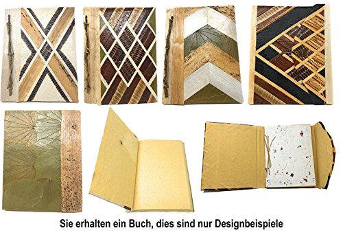 Tagebuch aus Reispapier und anderen Naturmaterialien, Blanko, ca.30-50 Seiten, jedes Stück ein Unikat, ca.25cm x 19cm - Reispapier Schatten