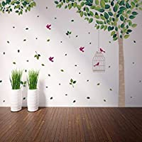 Wallflexi Wall Stickers Green Tree Wall Art Murals Removable Self-Adhesive Decals Nursery Kindergarden Kids Room Restaurant Cafe Hotel Office Home Decoration, multicolour