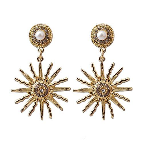 XJYA Orecchini A Lobo In Oro A Forma Di Fiore - Orecchini A Forma Di Perla Imitazione E Diamante,Gold