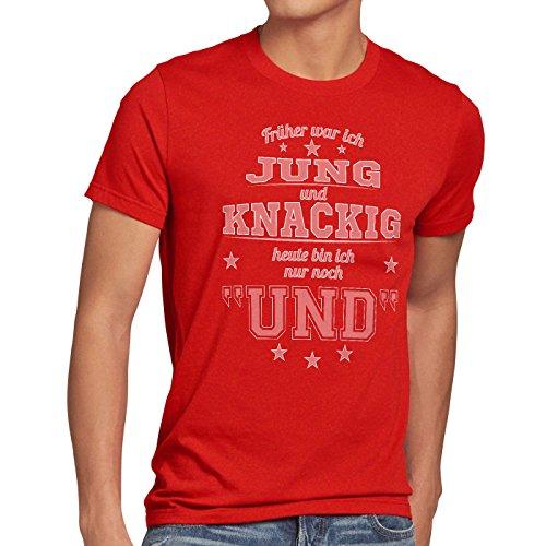 style3 Früher war ich Jung und Knackig heute bin ich nur noch UND Herren T-Shirt Funshirt Spruch Shirt Fun Rot