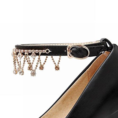 Mee Shoes Damen süß Ankle strap Schnalle Strass Plateau high heels Pumps Schwarz