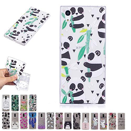 V-Ted Coque Sony Xperia E5 Panda Bambou Silicone Ultra Fine Mince Bumper Housse Etui Cover Transparente avec Motif Dessin Antichoc Incassable
