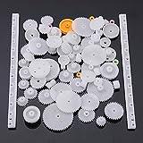 Ndier - Ruedas dentadas Módulo 0.5, de plástico, Ideales para Robots de Bricolaje (58 Unidades)